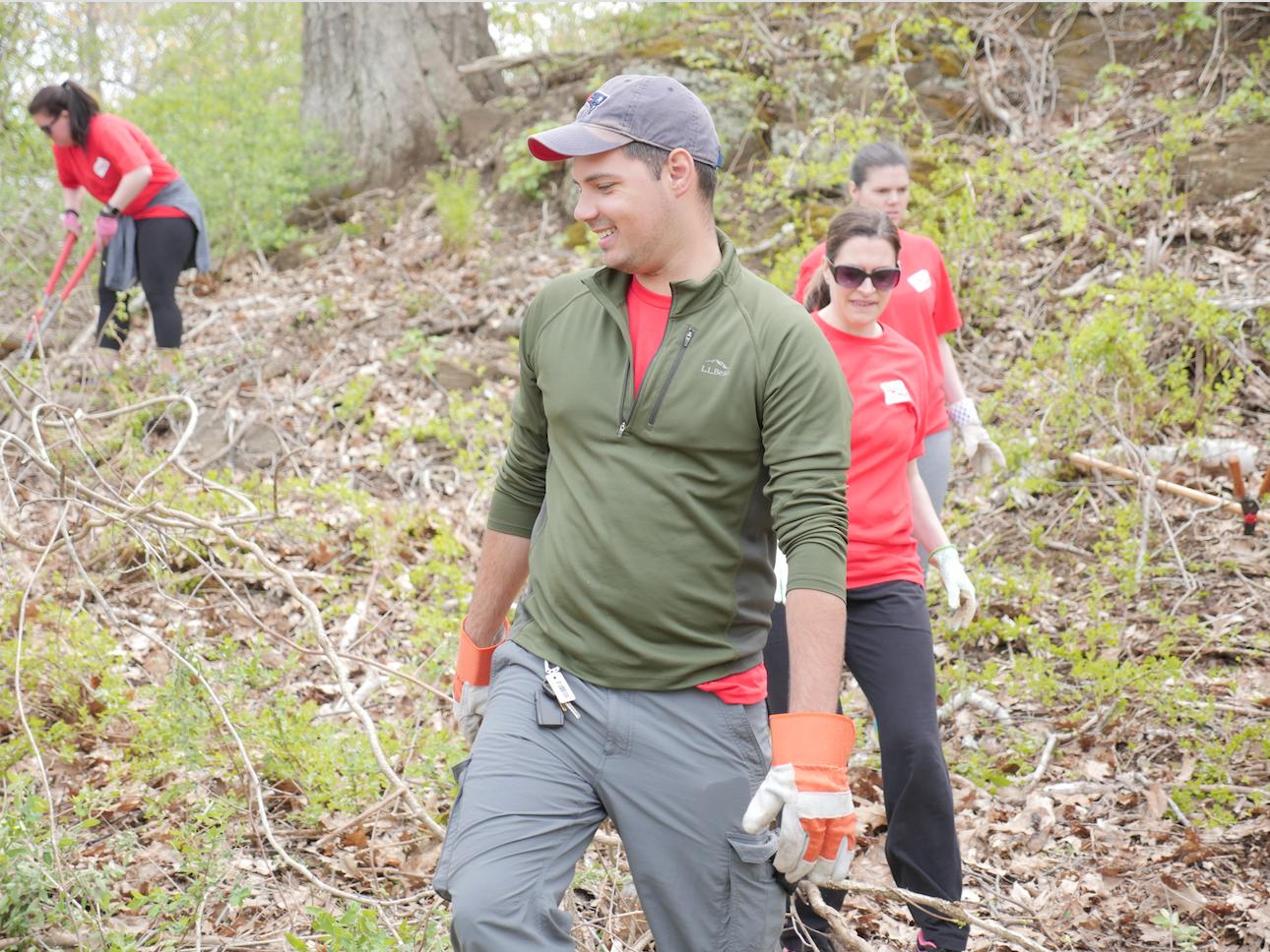 WEX employees volunteering in the woods