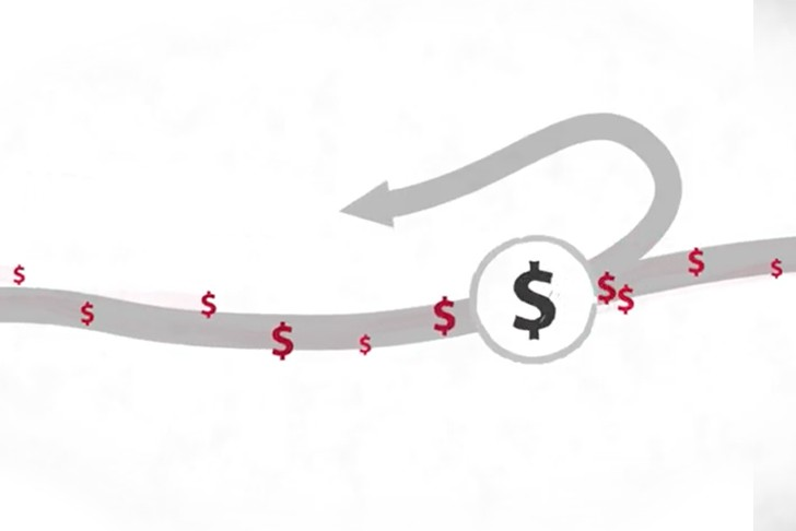 Graphic illustrating flowing stream of money with an emerging new revenue stream.