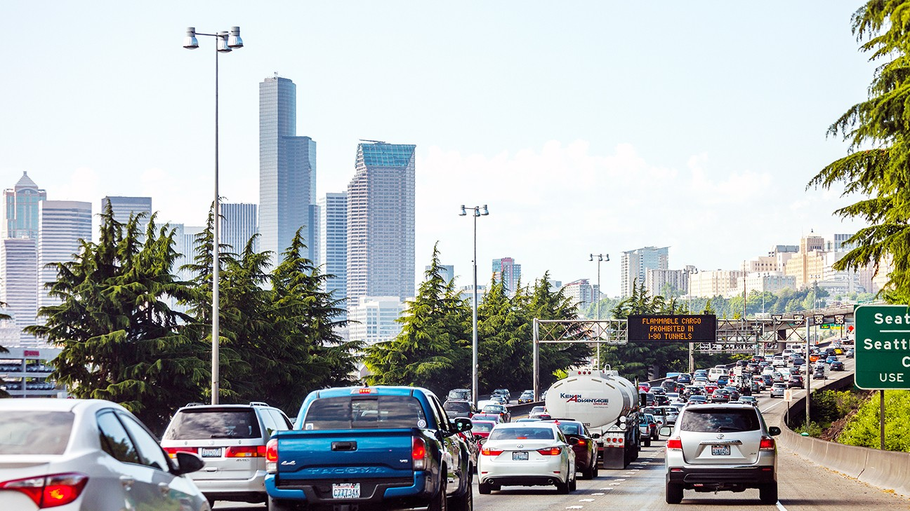 traffic builds heading into the city of Seattle