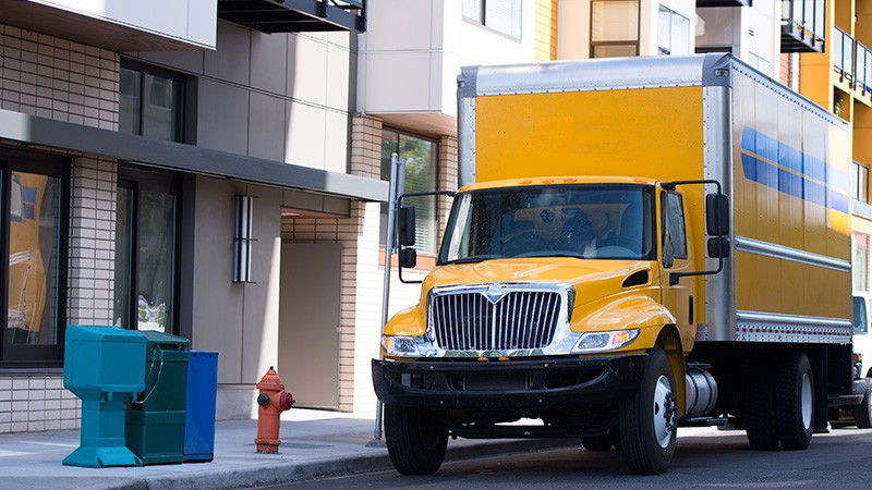 delivery truck outside building
