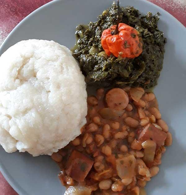 Kasava fufu, cassava leaves, Burundani vegetables, and red beans