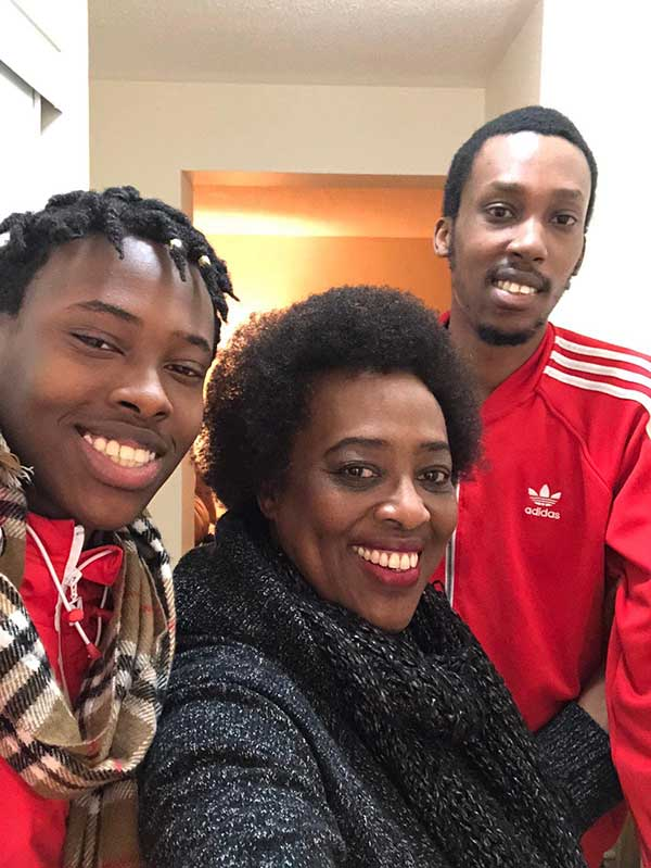 Ruvakubusa with her two sons, Nick and Sam visiting in Ottawa