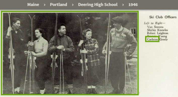 Alexander's father, Carlton Greely, in Portland's Deering High School yearbook. (Class of 1946)