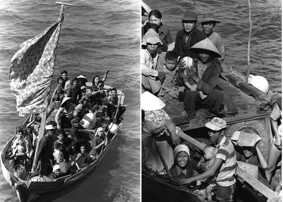 Photos by Phil Eggman of Refugees fleeing Vietnam
