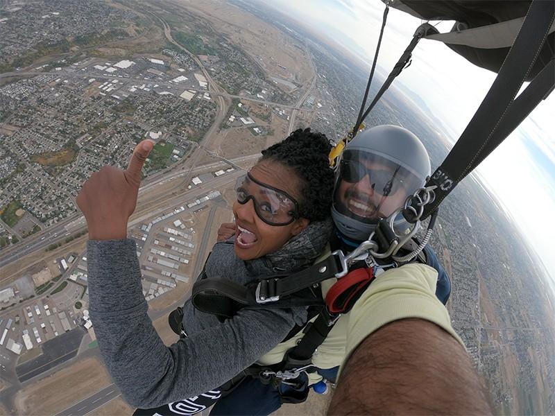 LaTashchia Velazquez skydiving in Utah