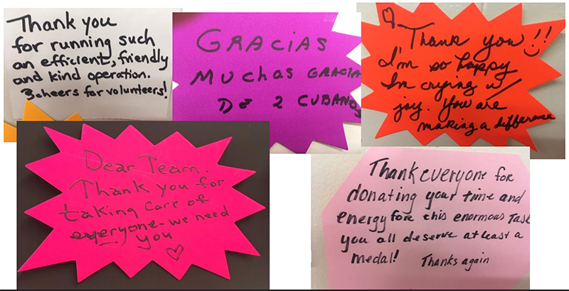 Messages from Clinic Patients on a Gratitude Wall at Scarborough Downs