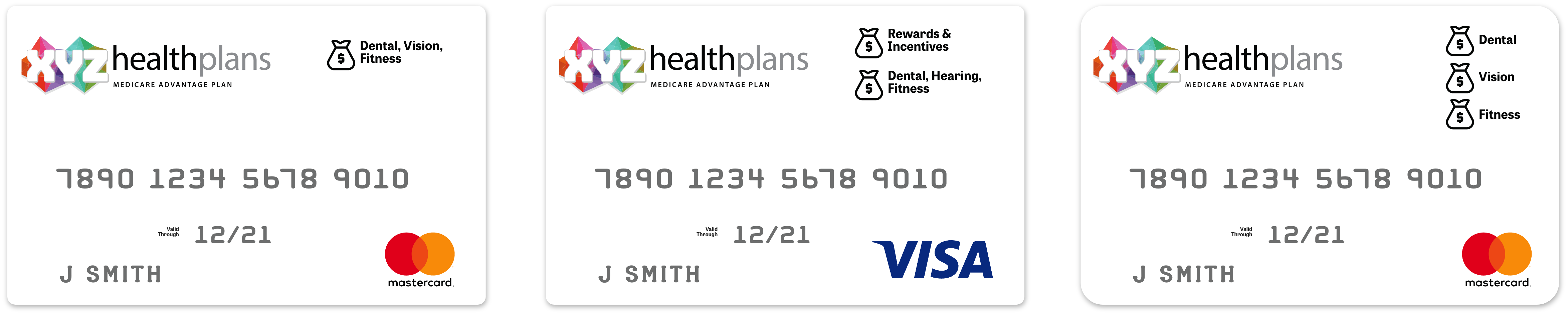 Customized debit cards with different options such as fitness, dental, vision, hearing, and more