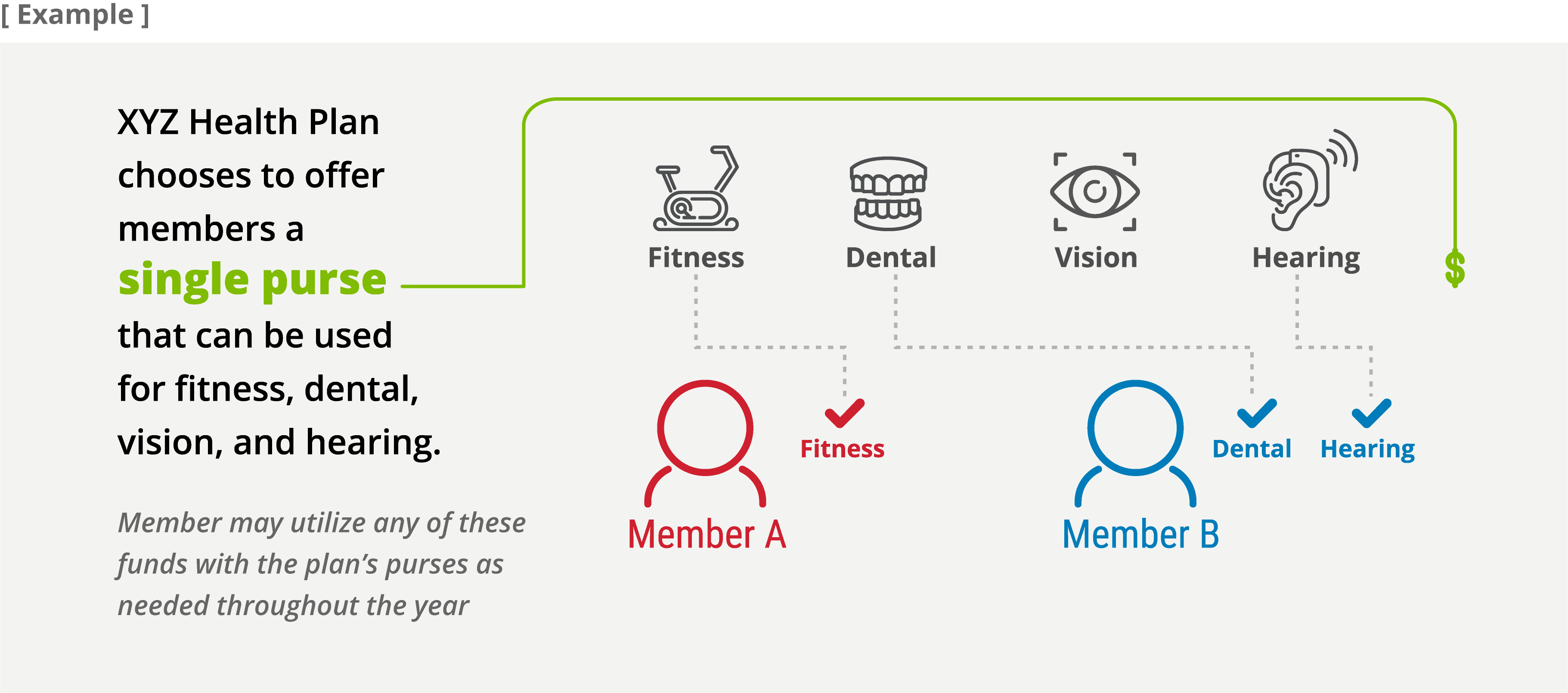 Example- XYZ Health Plan chooses to offer members a single purse that can be used for fitness, dental, vision, and hearing.