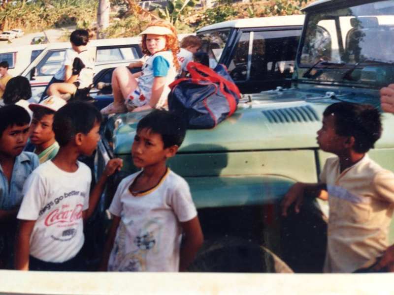 Limerick waiting to be picked up from school while living abroad in Indonesia as a child