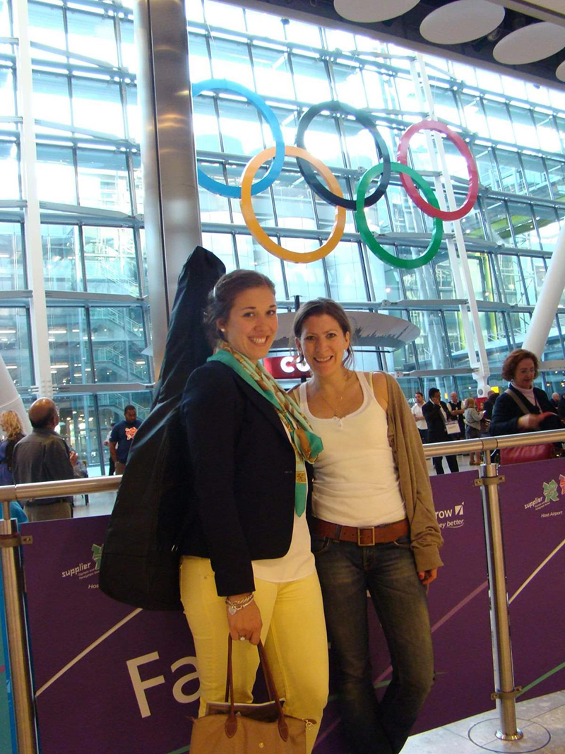 Limerick with a colleague during her Visa days