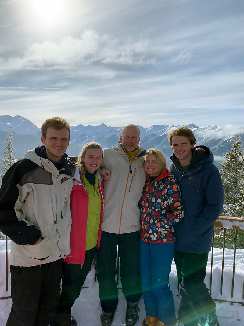 Anne Gale pictured with her husband and children during a family ski trip