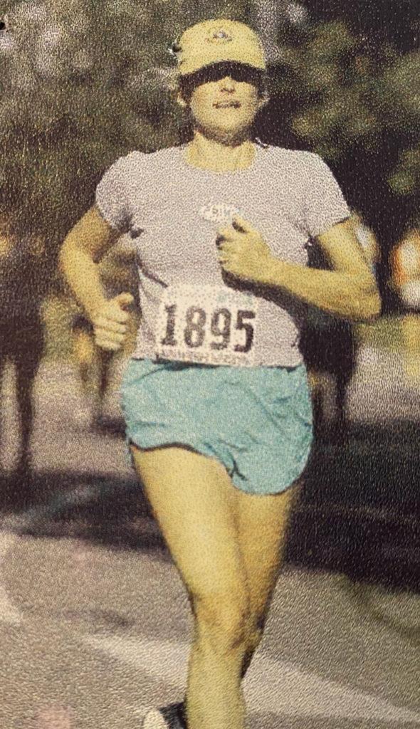 Gale powering through one of the half marathons of her adult running career